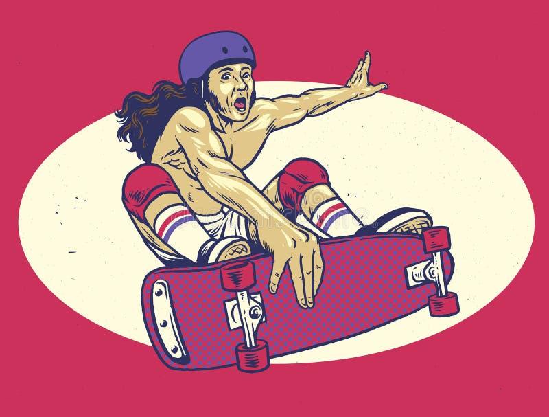 Εκλεκτής ποιότητας σχέδιο χεριών skateboard παιχνιδιού ατόμων διανυσματική απεικόνιση