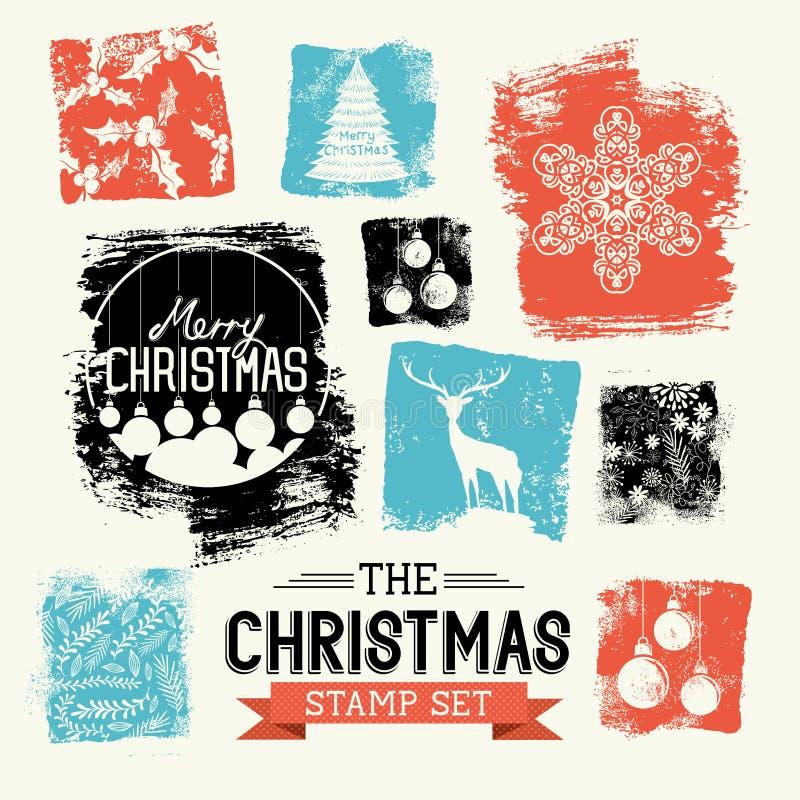 Εκλεκτής ποιότητας σύνολο γραμματοσήμων Χριστουγέννων ελεύθερη απεικόνιση δικαιώματος