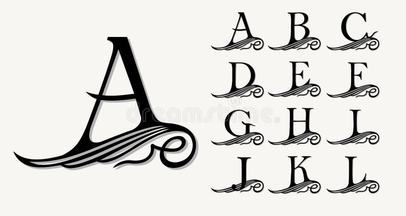 Εκλεκτής ποιότητας σύνολο 1 Καλλιγραφικά κεφαλαία γράμματα με τις μπούκλες για τα μονογράμματα, τα εμβλήματα και τα λογότυπα απεικόνιση αποθεμάτων