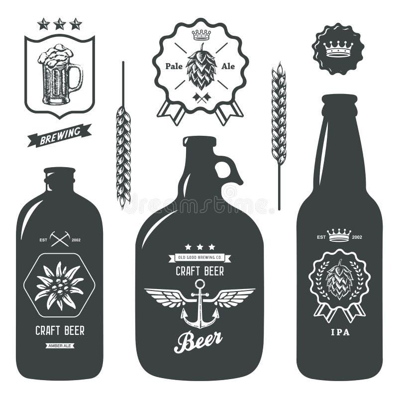Εκλεκτής ποιότητας σύνολο σημαδιών ετικετών ζυθοποιείων μπουκαλιών μπύρας τεχνών απεικόνιση αποθεμάτων