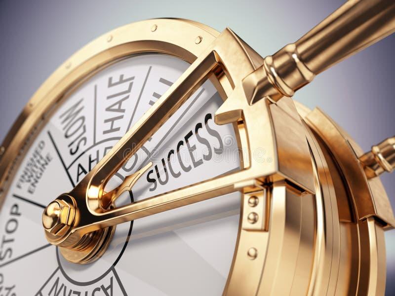 Εκλεκτής ποιότητας τηλέγραφος μηχανοστασίου σκαφών στο σημάδι επιτυχίας - επιχειρησιακή έννοια επιτυχίας απεικόνιση αποθεμάτων