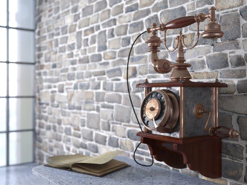 Εκλεκτής ποιότητας τηλέφωνο στον παλαιό τοίχο στοκ εικόνα