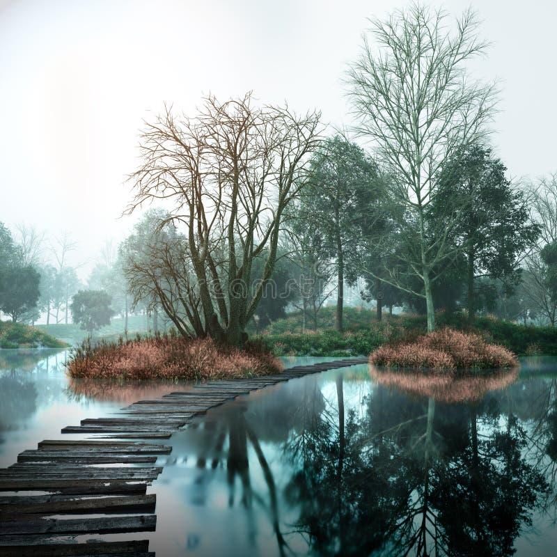 Εκλεκτής ποιότητας τοπίο φθινοπώρου με τα παλαιές ξύλα και τη λίμνη στοκ εικόνες με δικαίωμα ελεύθερης χρήσης