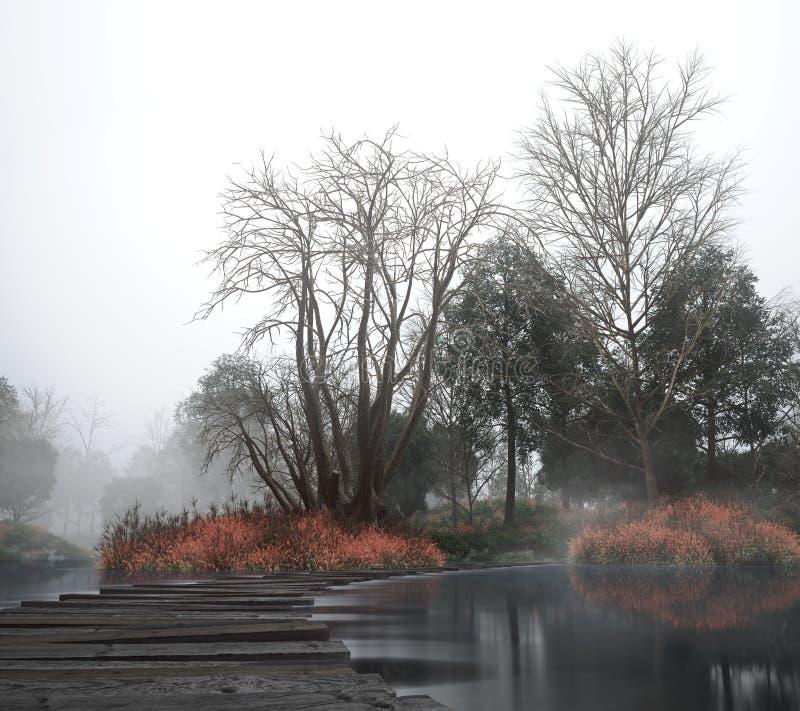 Εκλεκτής ποιότητας τοπίο φθινοπώρου με τα παλαιές ξύλα και τη λίμνη στοκ εικόνα με δικαίωμα ελεύθερης χρήσης
