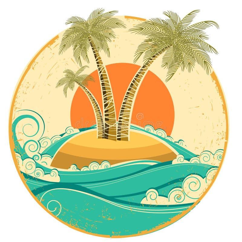 Εκλεκτής ποιότητας τροπικό νησί. Διανυσματικό seascape συμβόλων πνεύμα ελεύθερη απεικόνιση δικαιώματος