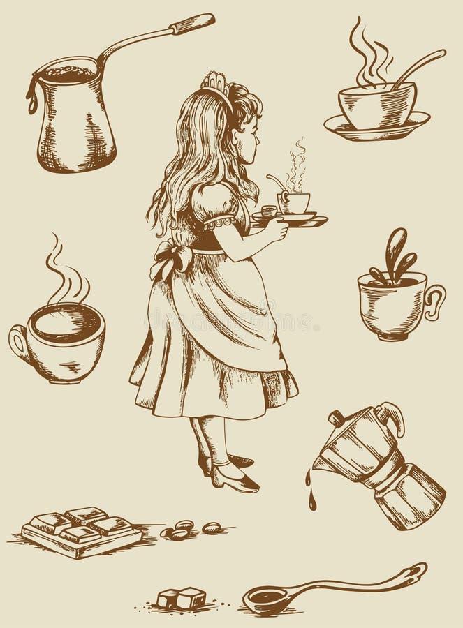 Εκλεκτής ποιότητας τσάι και καφές διανυσματική απεικόνιση