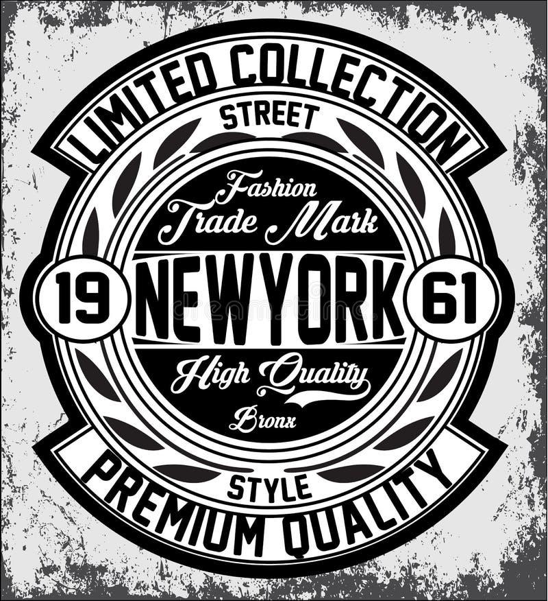 Εκλεκτής ποιότητας τυπογραφία της Νέας Υόρκης, γραφική παράσταση μπλουζών, διανύσματα διανυσματική απεικόνιση