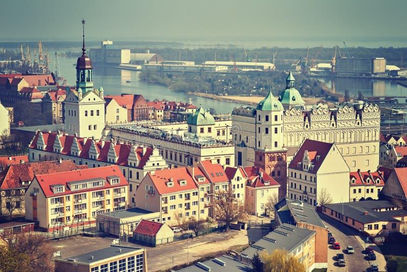 Εκλεκτής ποιότητας τυποποιημένη εναέρια άποψη της πόλης Szczecin, Πολωνία στοκ εικόνα με δικαίωμα ελεύθερης χρήσης
