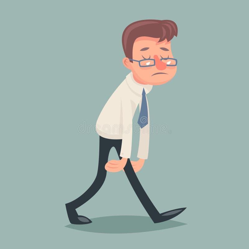 Εκλεκτής ποιότητας λυπημένος κουρασμένος κουρασμένος χαρακτήρας περιπάτων επιχειρηματιών απεικόνιση αποθεμάτων