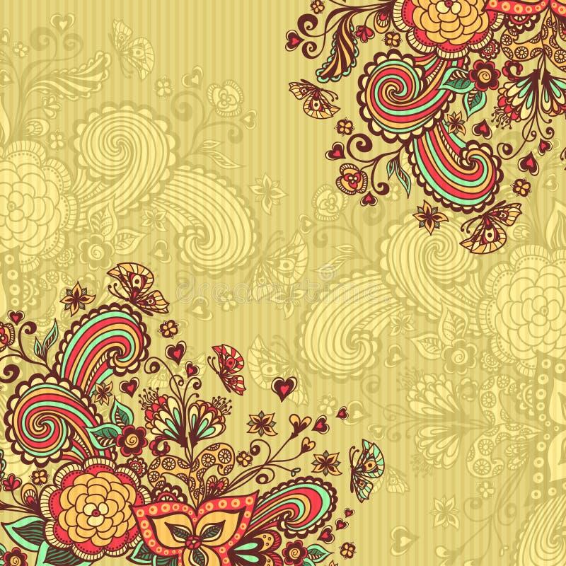 Εκλεκτής ποιότητας υπόβαθρο με τα λουλούδια doodle στο μπεζ διανυσματική απεικόνιση