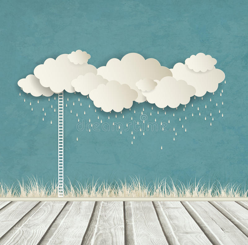 Εκλεκτής ποιότητας υπόβαθρο με τα σύννεφα και τις πτώσεις διανυσματική απεικόνιση