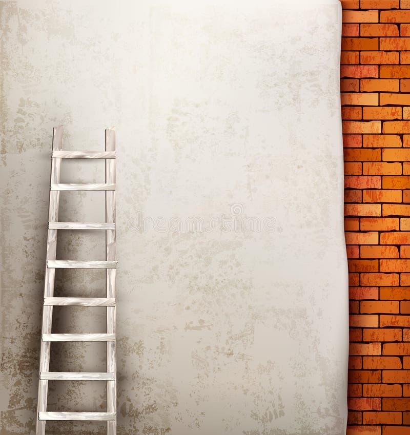 Εκλεκτής ποιότητας υπόβαθρο τουβλότοιχος με την ξύλινη σκάλα ελεύθερη απεικόνιση δικαιώματος