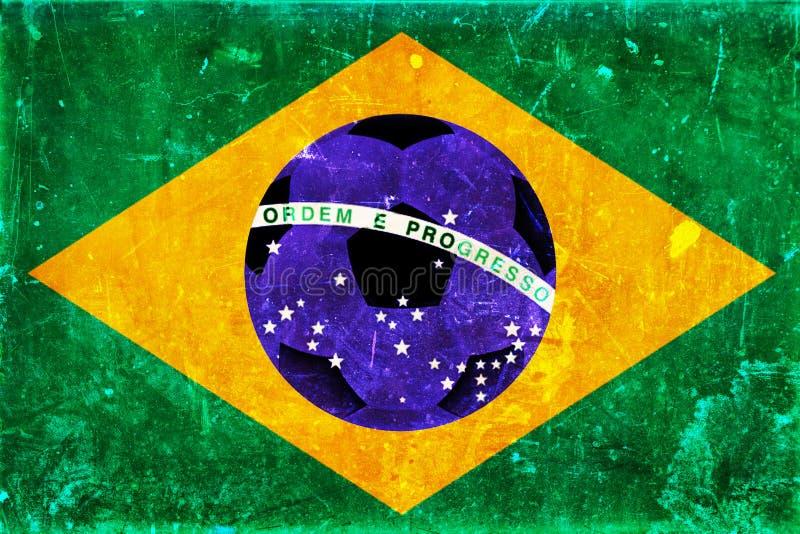Εκλεκτής ποιότητας φωτογραφία της σημαίας της Βραζιλίας και της σφαίρας ποδοσφαίρου στοκ φωτογραφία με δικαίωμα ελεύθερης χρήσης