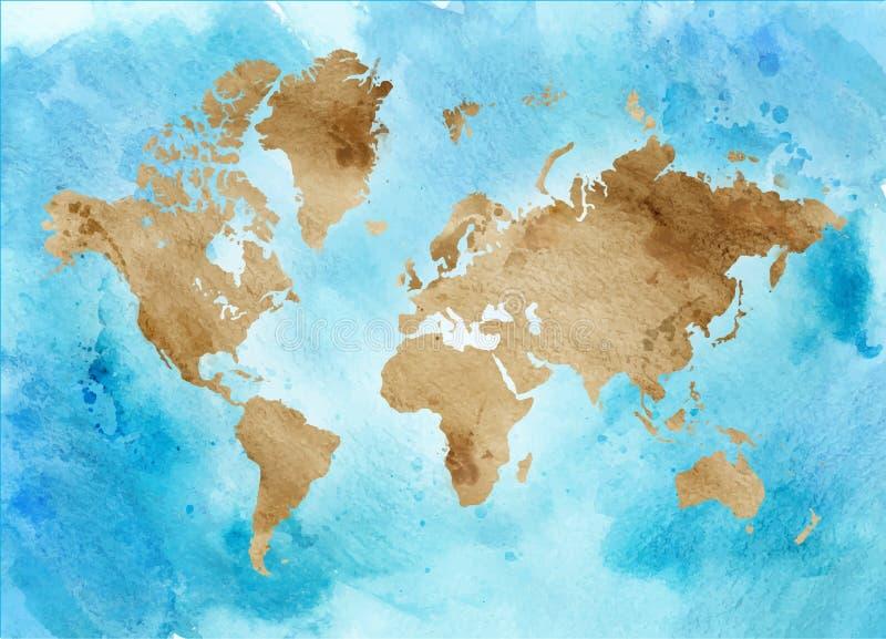 Εκλεκτής ποιότητας χάρτης του κόσμου σε ένα μπλε υπόβαθρο οριζόντια απεικόνιση Watercolor ελεύθερη απεικόνιση δικαιώματος
