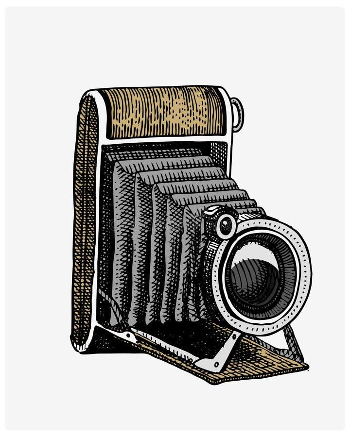 Εκλεκτής ποιότητας, χαραγμένο χέρι καμερών φωτογραφιών που σύρεται στο σκίτσο ή ύφος ξυλογραφιών, παλαιό να φανεί αναδρομικός φακ ελεύθερη απεικόνιση δικαιώματος