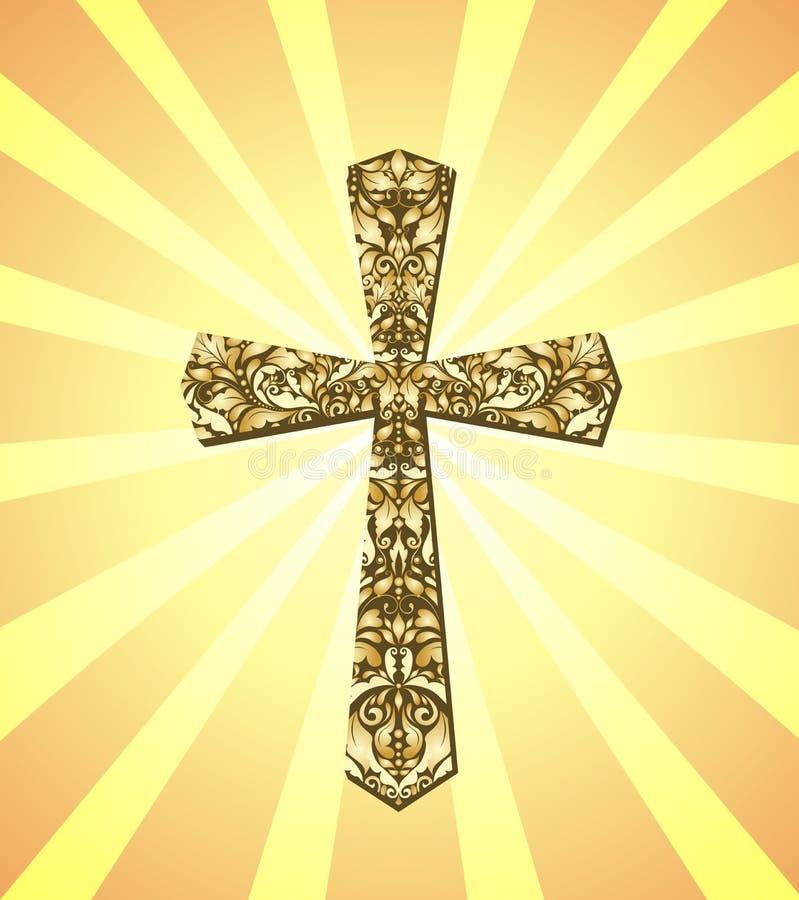 Εκλεκτής ποιότητας χριστιανικές ακτίνες σταυρών και ήλιων διανυσματική απεικόνιση