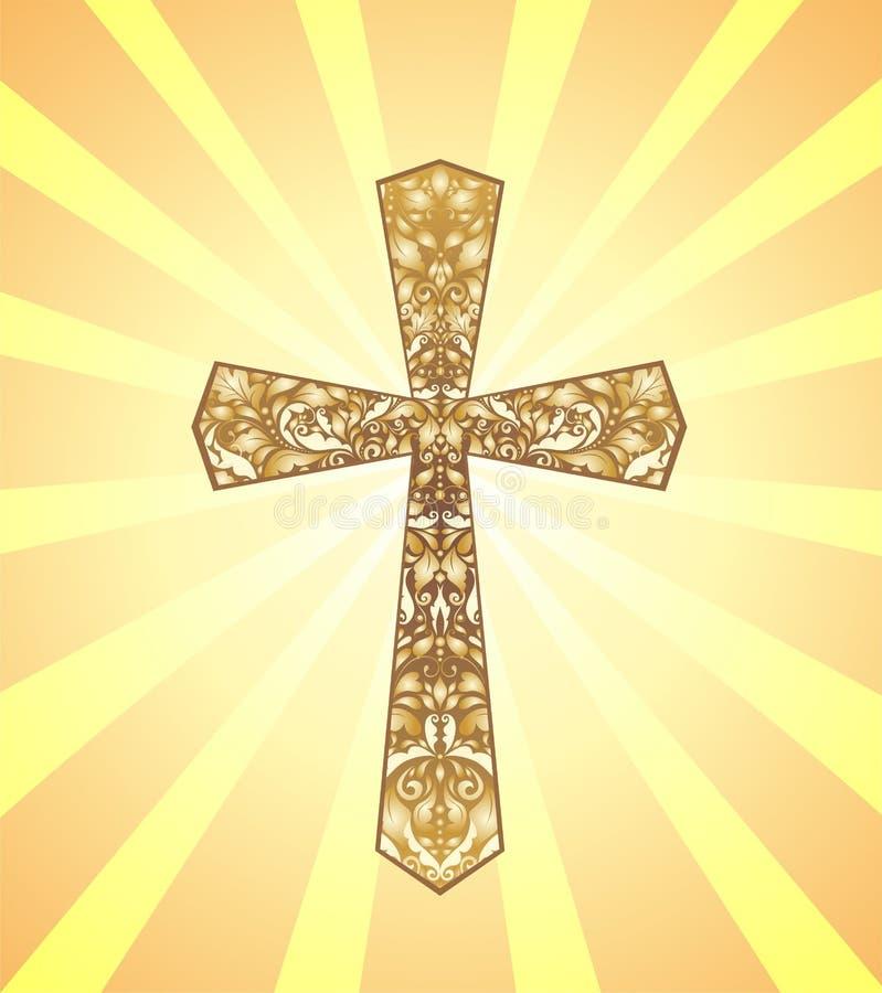 Εκλεκτής ποιότητας χριστιανικός σταυρός με το χρυσό floral σχέδιο στο υπόβαθρο με τις ακτίνες ήλιων απεικόνιση αποθεμάτων