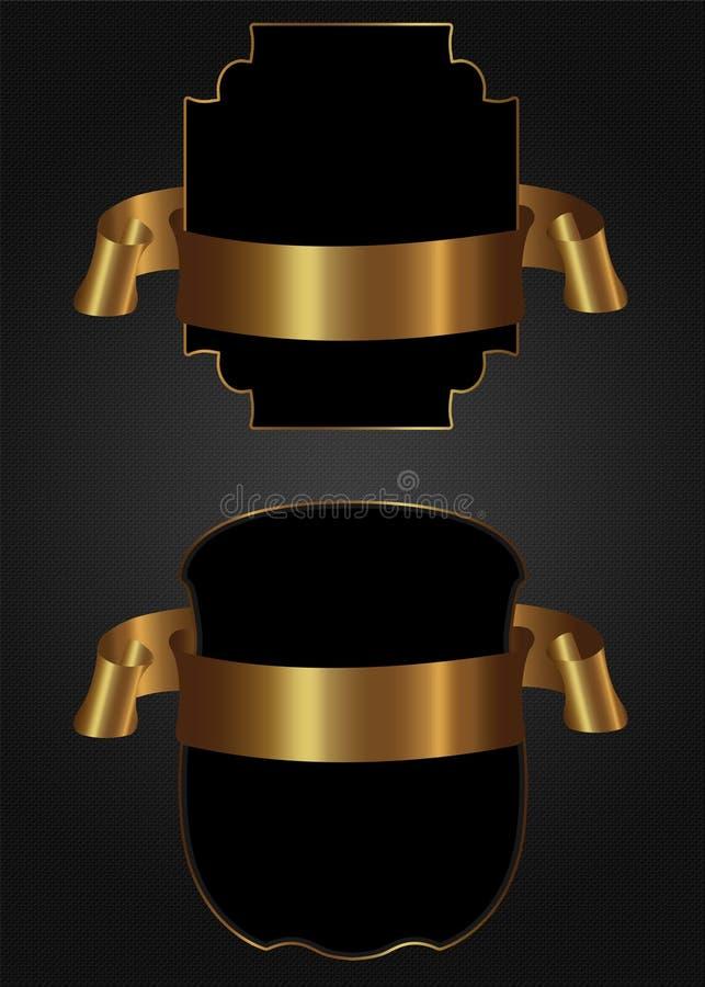Εκλεκτής ποιότητας χρυσή κορδέλλα πλαισίων απεικόνιση αποθεμάτων