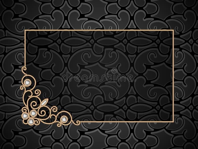 Εκλεκτής ποιότητας χρυσό πλαίσιο με swirly τη διακόσμηση γωνιών διανυσματική απεικόνιση