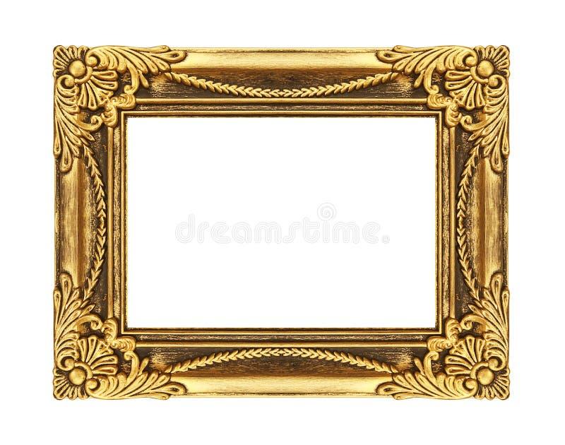 Εκλεκτής ποιότητας χρυσό πλαίσιο που απομονώνεται στο άσπρο υπόβαθρο, με το ψαλίδισμα του π στοκ φωτογραφία με δικαίωμα ελεύθερης χρήσης