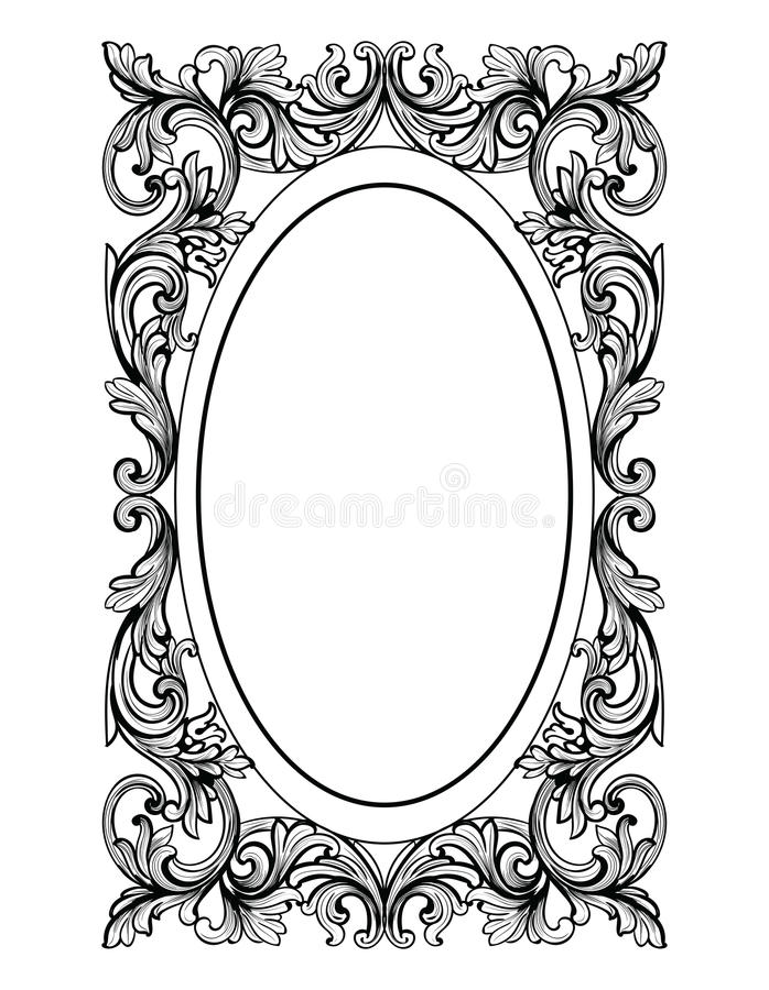 Εκλεκτής ποιότητας ωοειδές πλαίσιο καθρεφτών Διανυσματικές γαλλικές πλούσιες περίπλοκες διακοσμήσεις πολυτέλειας Βικτοριανό βασιλ απεικόνιση αποθεμάτων