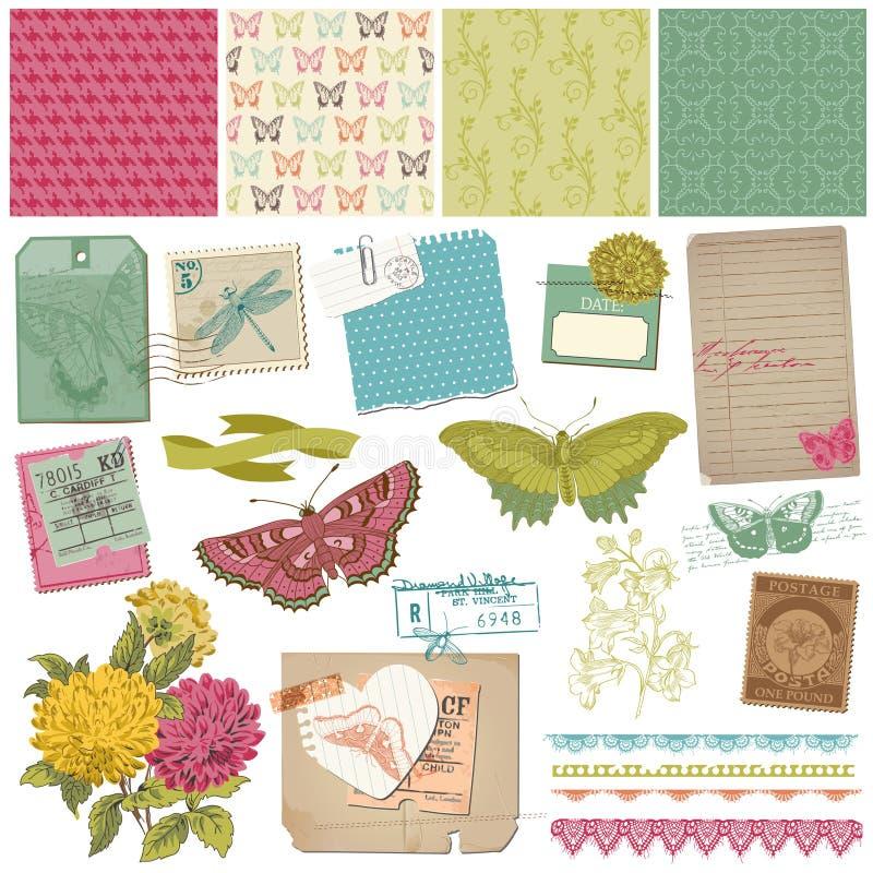 Εκλεκτής ποιότητας Butteflies και λουλούδια ελεύθερη απεικόνιση δικαιώματος