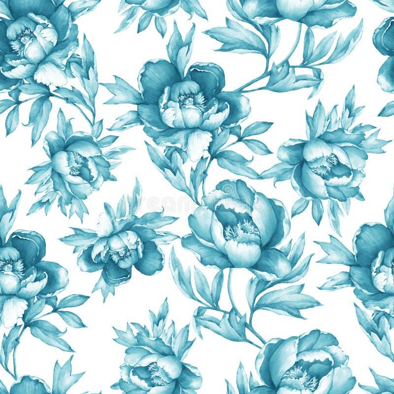 Εκλεκτής ποιότητας floral άνευ ραφής γκρίζος-μπλε μονοχρωματικό σχέδιο με το άνθισμα peonies, στο άσπρο υπόβαθρο Συρμένη χέρι ζωγ διανυσματική απεικόνιση