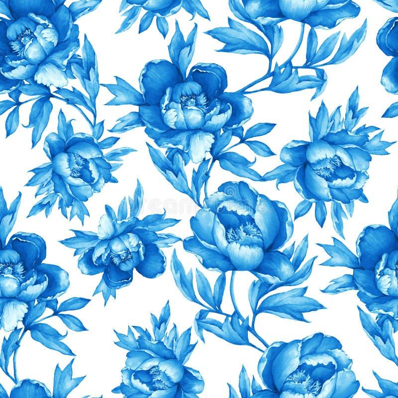 Εκλεκτής ποιότητας floral άνευ ραφής μπλε μονοχρωματικό σχέδιο με το άνθισμα peonies, στο άσπρο υπόβαθρο Συρμένη χέρι ζωγραφική W απεικόνιση αποθεμάτων
