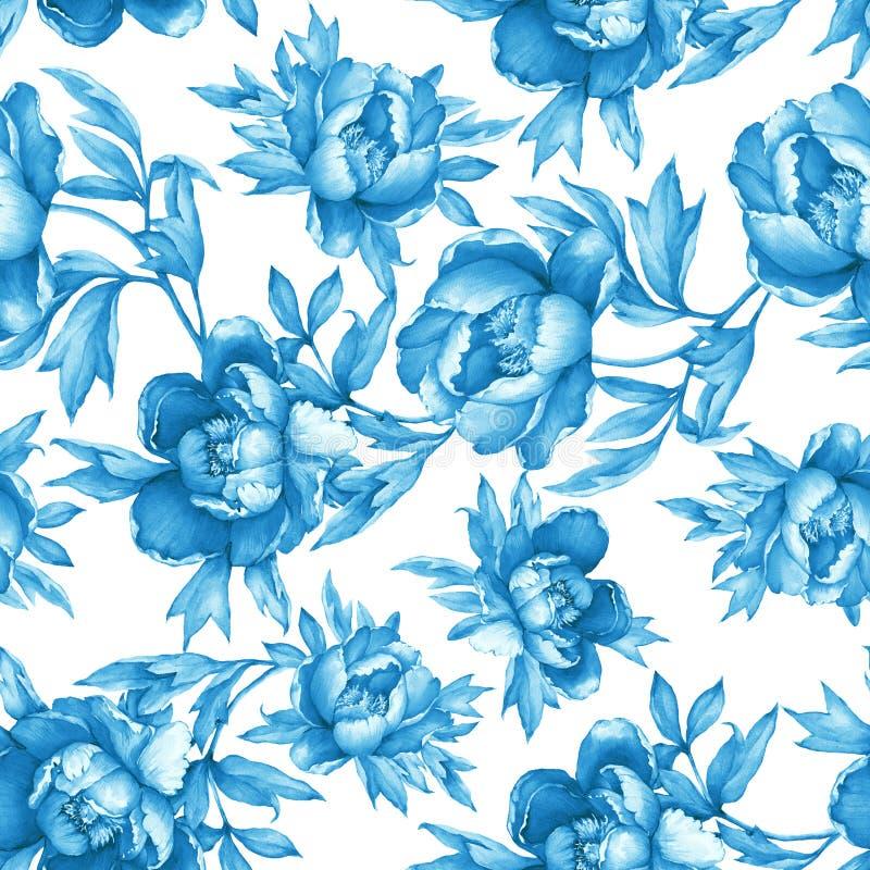 Εκλεκτής ποιότητας floral άνευ ραφής μπλε μονοχρωματικό σχέδιο με το άνθισμα peonies, στο άσπρο υπόβαθρο ελεύθερη απεικόνιση δικαιώματος