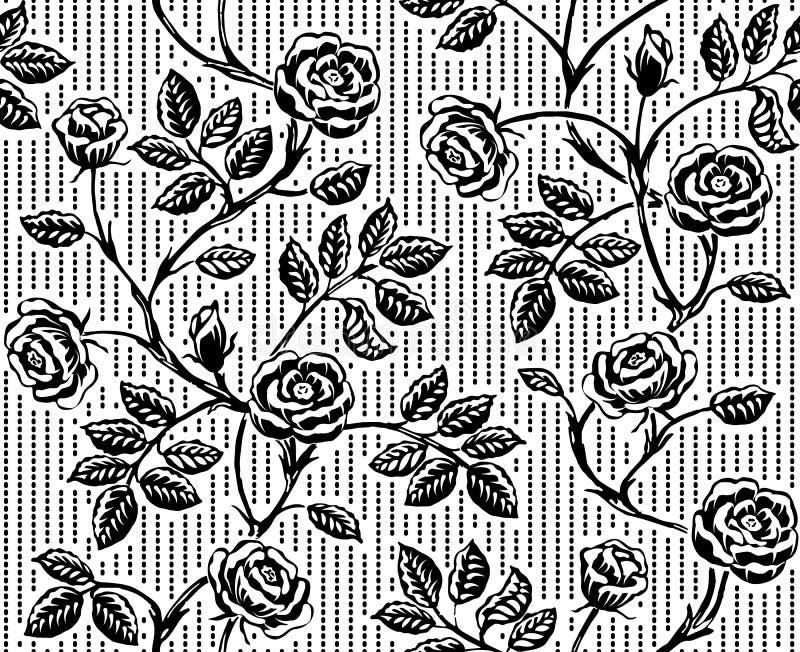 Εκλεκτής ποιότητας floral άνευ ραφής σχέδιο με τα κλασικά συρμένα χέρι τριαντάφυλλα απεικόνιση αποθεμάτων