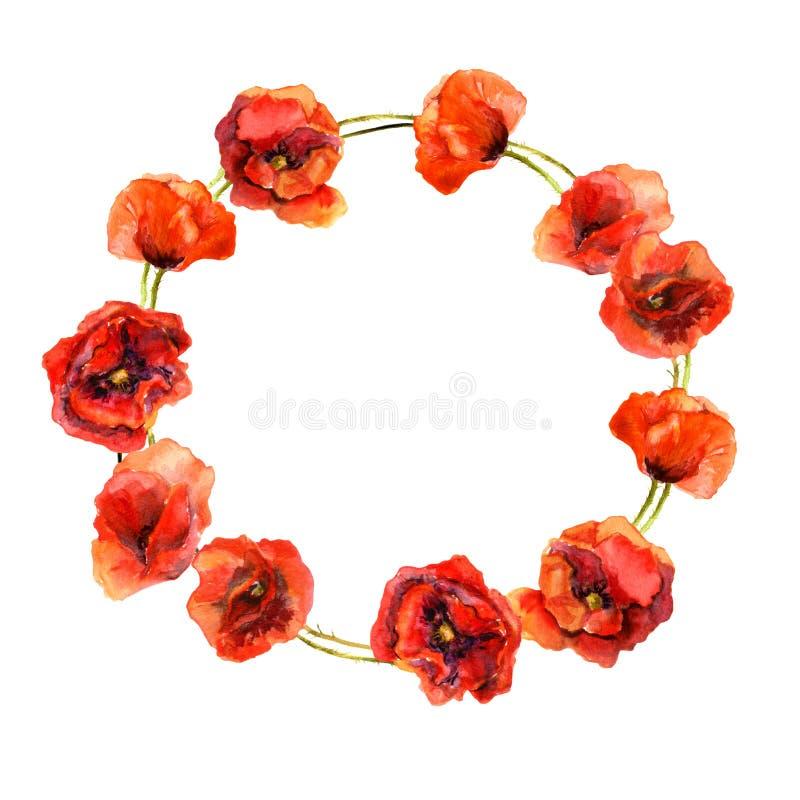 Εκλεκτής ποιότητας floral γιρλάντα κύκλων με τα ζωηρόχρωμα κόκκινα λουλούδια παπαρουνών Το Watercolor χρωμάτισε το αναδρομικό σχέ ελεύθερη απεικόνιση δικαιώματος
