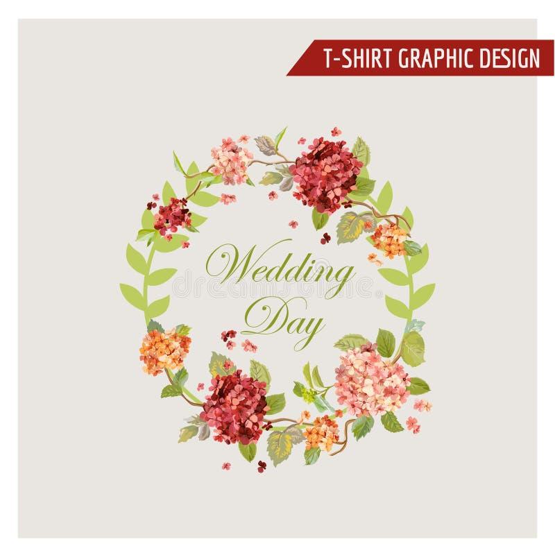Εκλεκτής ποιότητας Floral γραφικό σχέδιο Hortensia - για την κάρτα, μπλούζα, μόδα ελεύθερη απεικόνιση δικαιώματος