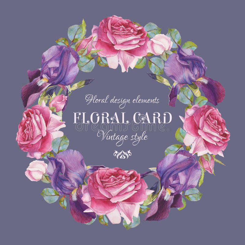 Εκλεκτής ποιότητας floral ευχετήρια κάρτα με ένα πλαίσιο των ρόδινων τριαντάφυλλων watercolor και της ιώδους ίριδας διανυσματική απεικόνιση