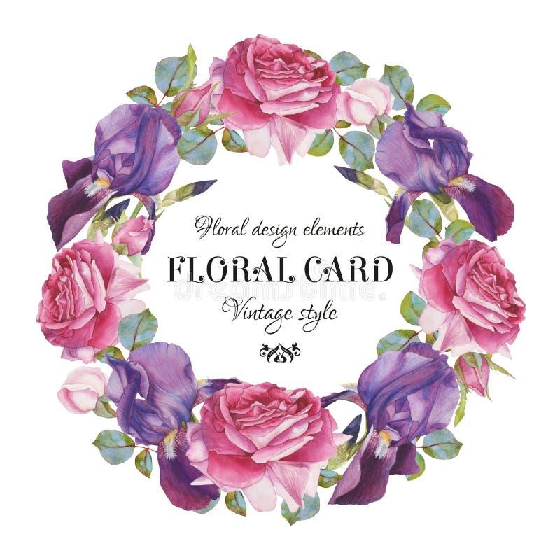 Εκλεκτής ποιότητας floral ευχετήρια κάρτα με ένα πλαίσιο των τριαντάφυλλων και της ίριδας watercolor διανυσματική απεικόνιση