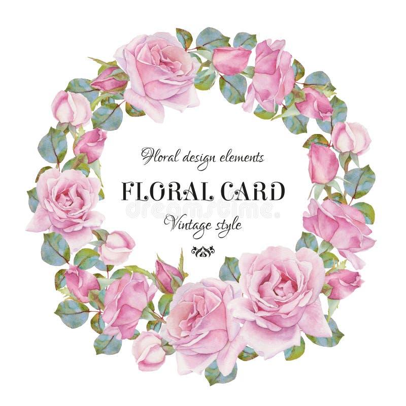 Εκλεκτής ποιότητας floral ευχετήρια κάρτα με ένα πλαίσιο των τριαντάφυλλων watercolor ελεύθερη απεικόνιση δικαιώματος
