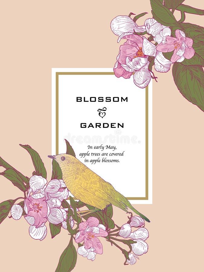 Εκλεκτής ποιότητας Floral ευχετήρια κάρτα με την άνθιση κλαδίσκων ελεύθερη απεικόνιση δικαιώματος