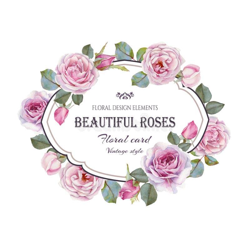 Εκλεκτής ποιότητας floral ευχετήρια κάρτα ελεύθερη απεικόνιση δικαιώματος