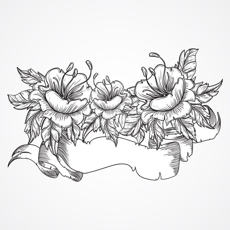 Εκλεκτής ποιότητας floral ιδιαίτερα λεπτομερής συρμένη χέρι ανθοδέσμη των λουλουδιών και του εμβλήματος κορδελλών σε γραπτό Βικτο διανυσματική απεικόνιση