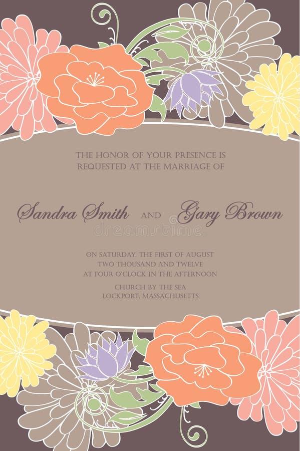 Εκλεκτής ποιότητας floral κάρτα γαμήλιας πρόσκλησης ελεύθερη απεικόνιση δικαιώματος
