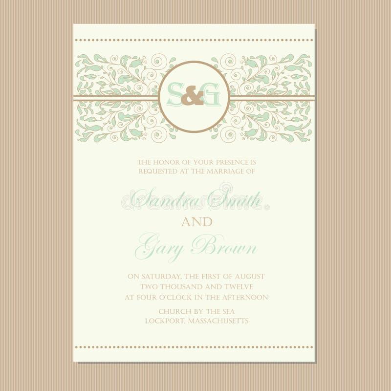 Εκλεκτής ποιότητας floral κάρτα γαμήλιας πρόσκλησης διανυσματική απεικόνιση