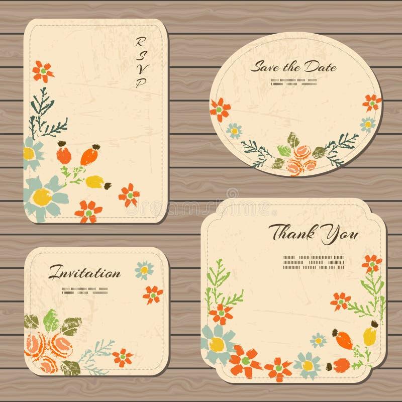 Εκλεκτής ποιότητας floral συλλογή καρτών ελεύθερη απεικόνιση δικαιώματος