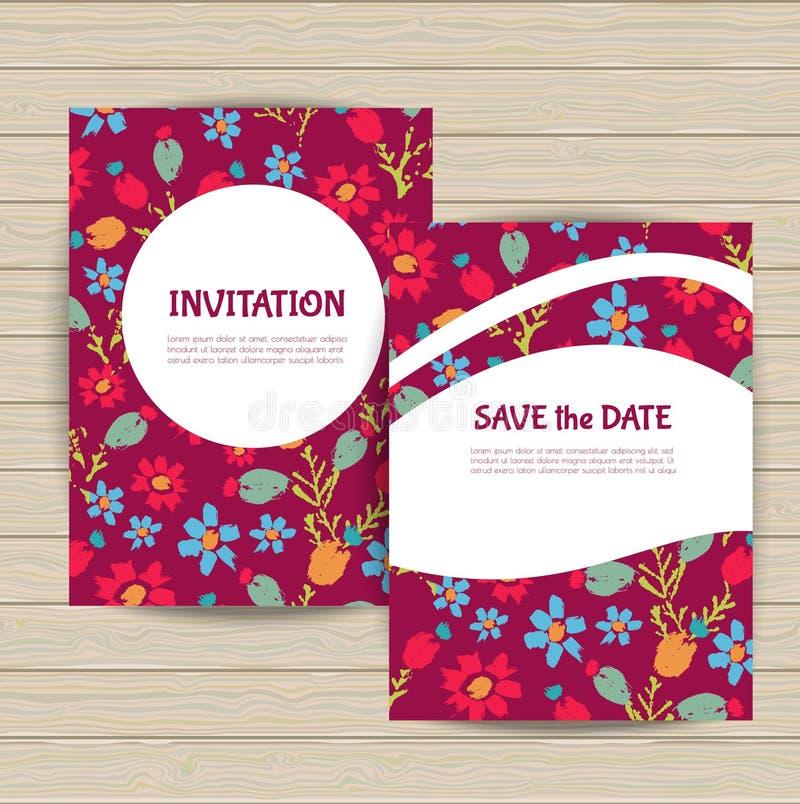 Εκλεκτής ποιότητας floral συλλογή καρτών διανυσματική απεικόνιση