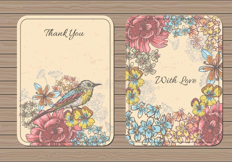 Εκλεκτής ποιότητας floral συλλογή καρτών απεικόνιση αποθεμάτων