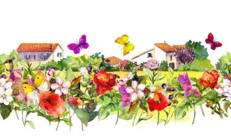 Εκλεκτής ποιότητας floral σύνορα - σπίτια επαρχίας Θερινά λουλούδια Watercolor, πεταλούδες πλαίσιο άνευ ραφής στοκ φωτογραφίες
