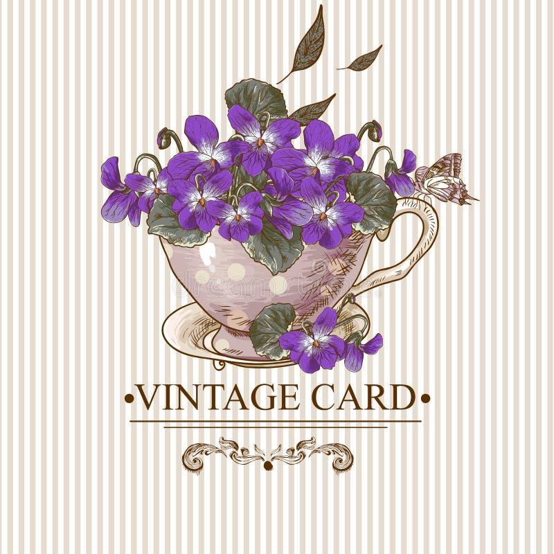 Εκλεκτής ποιότητας Floral υπόβαθρο με τις βιολέτες σε ένα φλυτζάνι απεικόνιση αποθεμάτων