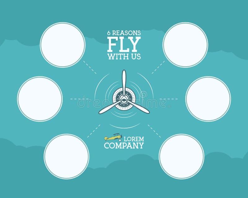 Εκλεκτής ποιότητας infographics αεροπλάνων και ταξιδιού με τις κενές μορφές, φυσαλίδα για τις στατιστικές, επιχειρησιακά διαγράμμ διανυσματική απεικόνιση