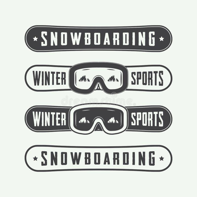 Εκλεκτής ποιότητας snowboarding λογότυπα, διακριτικά, εμβλήματα και στοιχεία σχεδίου διανυσματική απεικόνιση