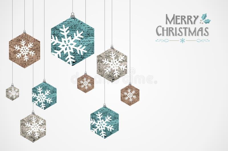 Εκλεκτής ποιότητας snowflakes Χαρούμενα Χριστούγεννας grunge κάρτα απεικόνιση αποθεμάτων