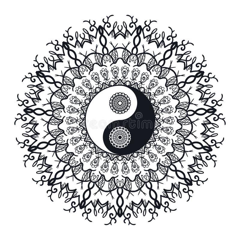 Εκλεκτής ποιότητας Yin και Yang σε Mandala διανυσματική απεικόνιση