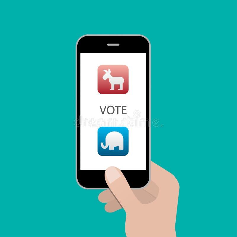 Εκλογή από την έννοια smartphone Επίπεδο σχέδιο απεικόνιση αποθεμάτων